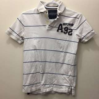 White Blue Stripe Abercrombie & Fitch Polo Shirt A&F