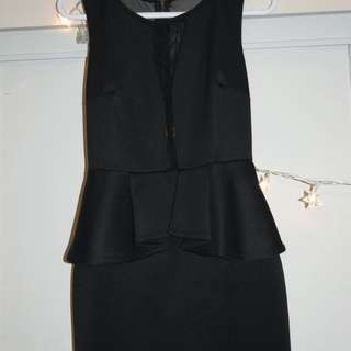 Mesh Detail Black Dress
