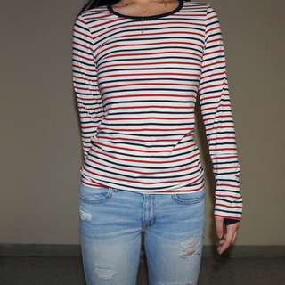 Basic Three Colour Striped Tee