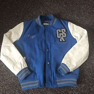 Blue And White Bomber Jacket