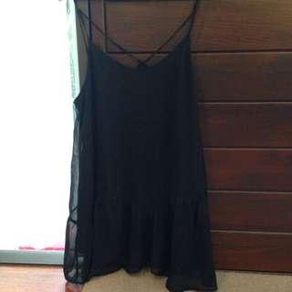 BLACK SHEER DRESS W SLIP