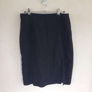 Black Work Pencil Skirt With Split