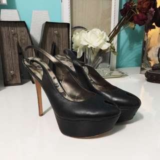 Sam Edelman Black Leather Peep toe Stilleto Slingback Heel