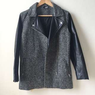 H&M DIVIDED LEATHER WOOL KNIT JACKET OUTERWEAR