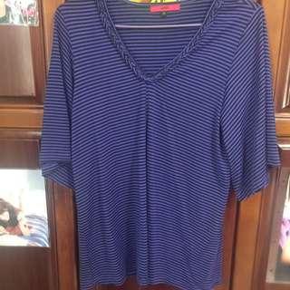 Ozoc 紫色條紋長版上衣
