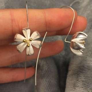 Silver flower earring, 100%new