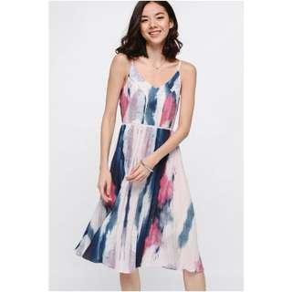 BNWT Orosia Printed Pleated Midi Dress Size M Pink