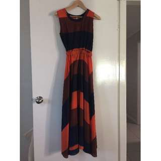 Navy, Orange and Brown Dress