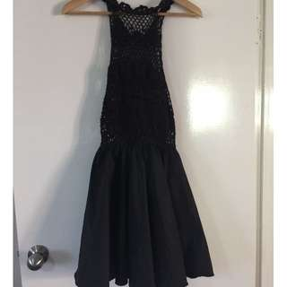 Black Crochet Dress with Full Taffeta Mini Skirt