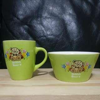 英文熊色釉杯碗組