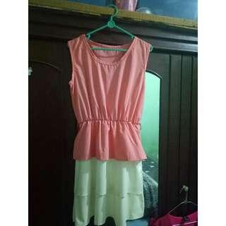 Peach Dress Combi White (NEW)