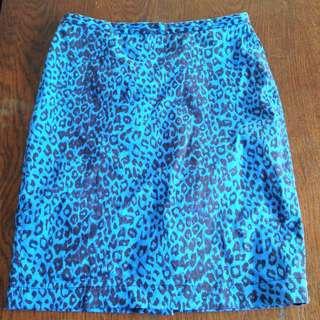 High Waisted Blue Leopard Print Skirt