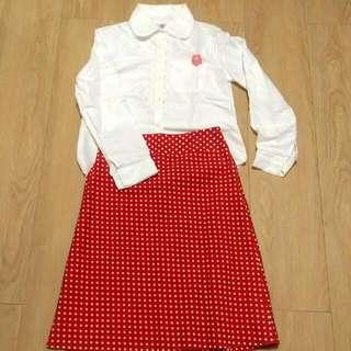 復古紅色圓點點中長裙