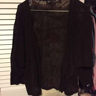 Forever 21 Brown Lace 3/4 Sleeve Cardigan