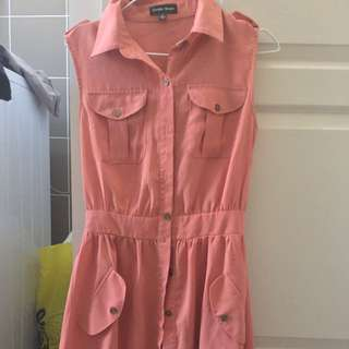 Peach Button Up Dress