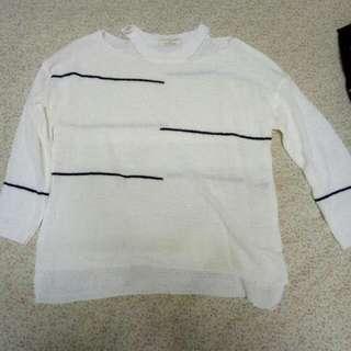 實穿~Image 黑色線條 挖肩 七分袖 針織 上衣