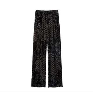 Balmain X H&M 真絲絨布寬褲