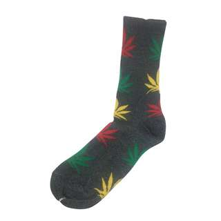 Glee Series Green, Yellow and Red Leaf Grey Socks