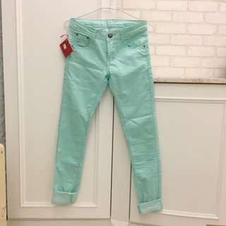 韓版 淺藍綠 牛仔褲