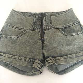 Grey Wash Denim Shorts