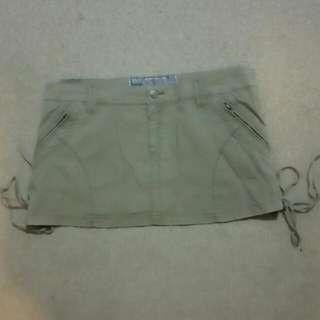 Insight Khaki Cotton/spandex Mini Skirt Size 12