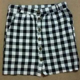 Black/white Checkered Pencil Mini Skirt
