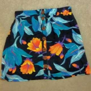 Multi Coloured Floral Mini Skirt