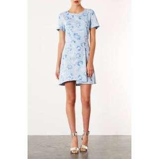 Blue Topshop Origami Dress