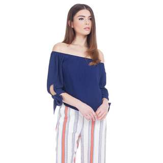 Theclosetlover TCL Quince Off Shoulder Top Navy M