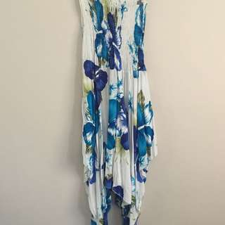 Barely Used Blue Tropical Print Handkerchief Dress