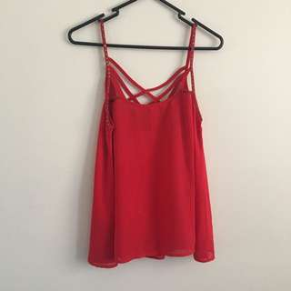 Gently Worn Red Beaded Singlet