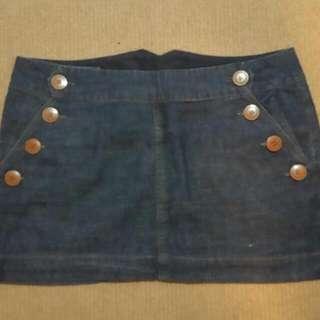 Cottom On Denim Button Detail Mini Skirt Size M