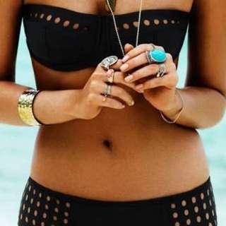 Seafolly Black Holes Bandeau Bikini