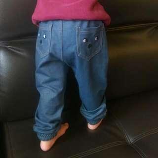 ✨現貨 韓版bebezoo眼睛口袋收腳純棉牛仔褲 嬰幼兒服裝 男女童裝 棉褲 牛仔褲