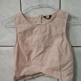 兩件式 無袖棉麻上衣+裙子-豆粉(適合s-m)
