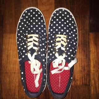 Navy Blue With White Polka Dots