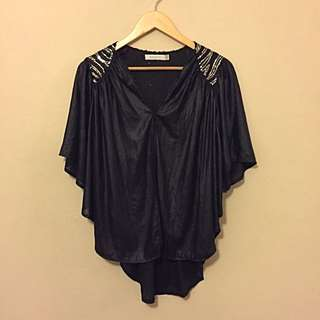 Mink Pink Sequin Black Slinky Cape