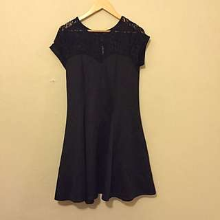 Black Skater Dress With Lace Insert And Sweetheart Neckline