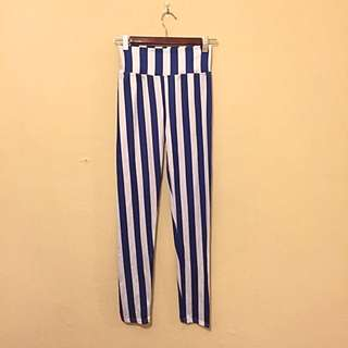 Navy And White stripe Tights