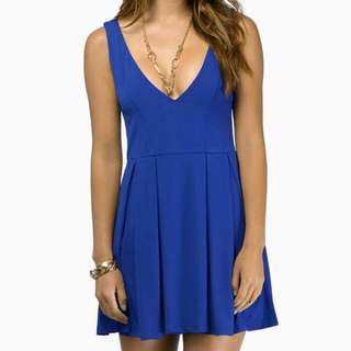 Deep V Skater Dress Blue Size 10