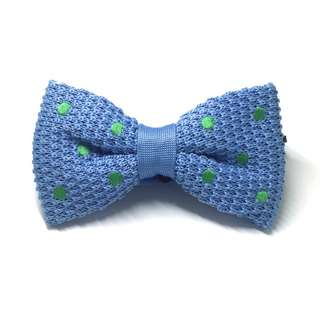 Webbed Series Green Polka Dots Sky Blue Knitted Bow Tie