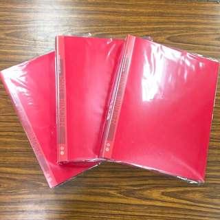 全新4孔A4文件夾(紅)