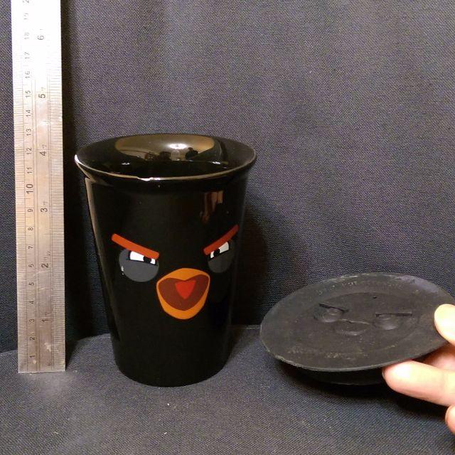 超商集點贈品憤怒鳥黑保溫杯(防漏矽膠蓋。12cm高)