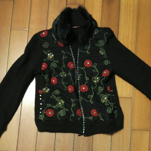 黑色毛針織外套
