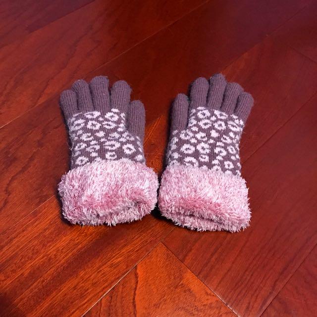 毛毛豹紋手套