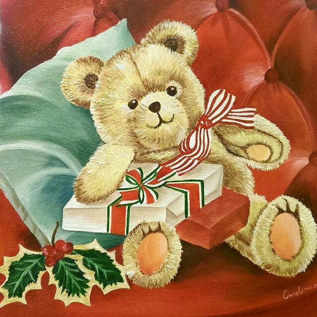 聖誕熊(油畫)