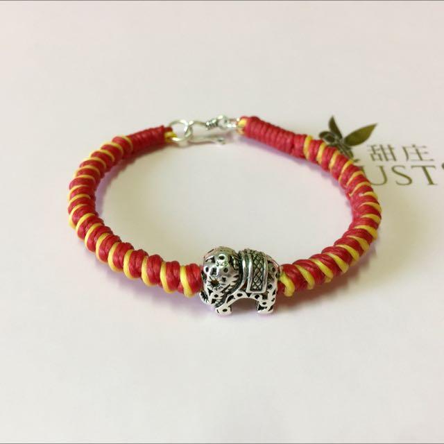 純銀蠶絲蠟線手環-大象 粗款