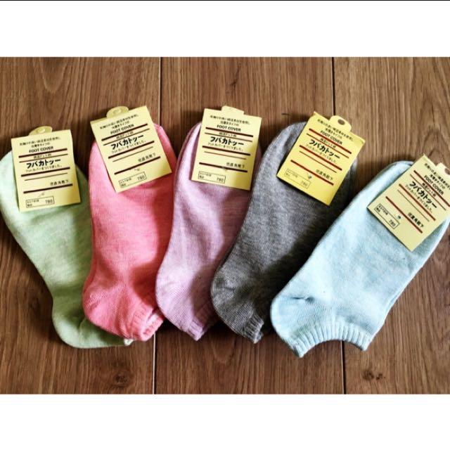 女生 日式簡約風 襪子 五色一組出貨