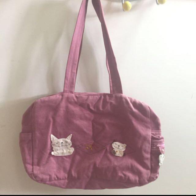 粉色 小貓 布包 手提包