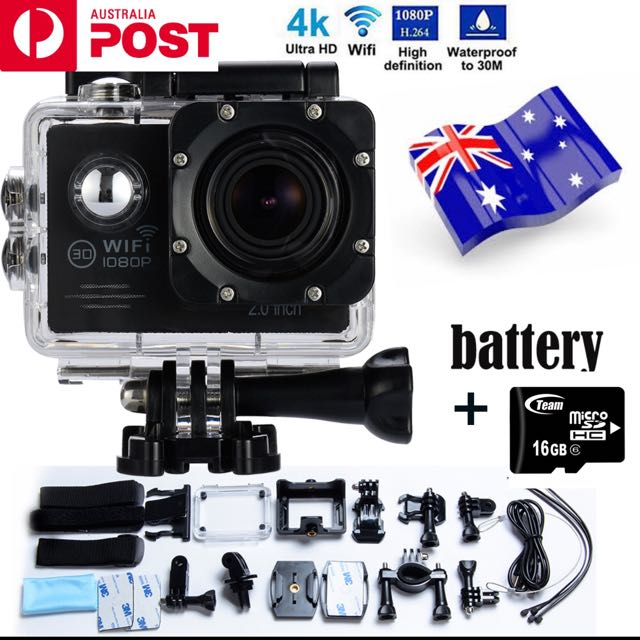 ACTION SPORTS CAM 1080 HD 30M WATERPROOF 16GB MEMORY CARD INC